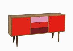Buffet Vintage com 02 Portas na Cor Vermelha e 03 Gavetas Colorida