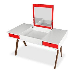 Escrivaninha ou Penteadeira Delacroix com 2 Gavetas na Cor Branco com Vermelho