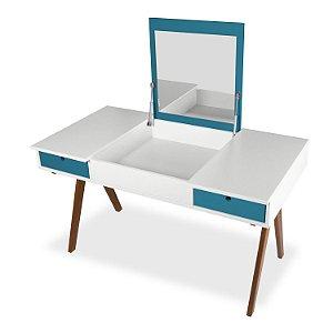 Escrivaninha ou Penteadeira Delacroix com 2 Gavetas na Cor Branco com Azul Turqueza