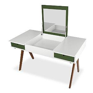 Escrivaninha ou Penteadeira Delacroix com 2 Gavetas na Cor Branco com Verde Oliva