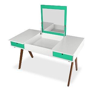 Escrivaninha ou Penteadeira Delacroix com 2 Gavetas na Cor Branco com Verde