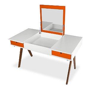 Escrivaninha ou Penteadeira Delacroix com 2 Gavetas na Cor Branco com laranja