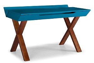 Escrivaninha Stúdio com Pés Marrom e 1 Gaveta na Cor Azul Turqueza
