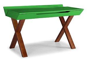Escrivaninha Stúdio com Pés Marrom e 1 Gaveta na Cor Verde Limão