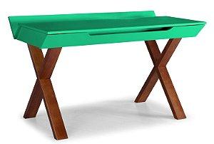 Escrivaninha Stúdio com Pés Marrom e 1 Gaveta na Cor Verde