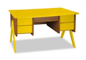 Escrivaninha Vintage com 4 gavetas na Cor Amarelo