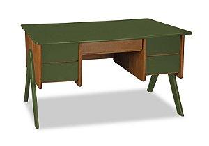 Escrivaninha Vintage com 4 gavetas na Cor Verde Oliva