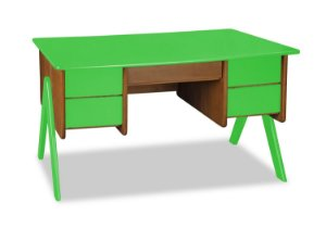 Escrivaninha Vintage com 4 gavetas na Cor Verde Limão