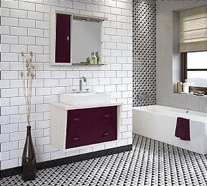 Conjunto para Banheiro Suspenso com Espelheira e Balção com 2 Gavetões no Tamanho de 100cm com Cuba e Luminária na Cor Aspen - Açai