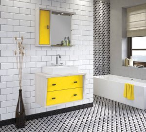 Conjunto para Banheiro Suspenso com Espelheira e Balção com 2 Gavetões no Tamanho de 100cm com Cuba e Luminária na Cor Aspen - Amarelo