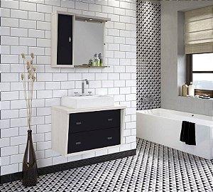Conjunto para Banheiro Suspenso com Espelheira e Balção com 2 Gavetões no Tamanho de 100cm com Cuba e Luminária na Cor Aspen - Preto