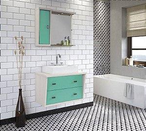 Conjunto para Banheiro Suspenso com Espelheira e Balção com 2 Gavetões no Tamanho de 100cm com Cuba e Luminária na Cor Aspen - Turmalina