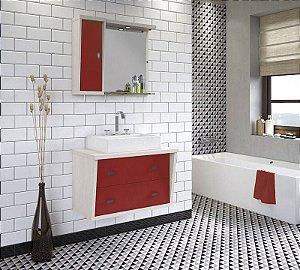 Conjunto para Banheiro Suspenso com Espelheira e Balção com 2 Gavetões no Tamanho de 100cm com Cuba e Luminária na Cor Aspen - Vermelho