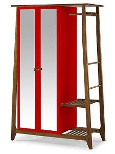 Roupeiro Multiuso Stoka com 2 Portas na Cor Vermelha