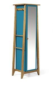 Sapateira ou Armário Multiuso Stoka em Madeira Maciça e Mdf na Cor Azul Turqueza