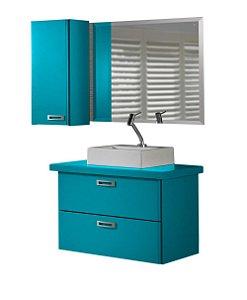 Conjunto de 3 Peças Para Banheiro Kenzo na Cor Azul Turqueza