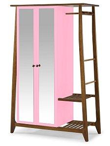 Roupeiro Multiuso Stoka com 2 Portas na Cor Rosa Cristal