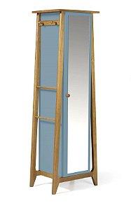 Sapateira ou Armário Multiuso Stoka em Madeira Maciça e Mdf na Cor Azul Serenata