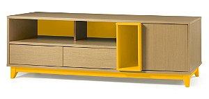 Rack Quadrato com 02 gavetas e 01 Porta e 2 Nichos na Cor Amarelo
