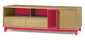 Rack Quadrato com 02 gavetas e 01 Porta e 2 Nichos na Cor Pink