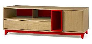 Rack Quadrato com 02 gavetas e 01 Porta e 2 Nichos na Cor Vermelho