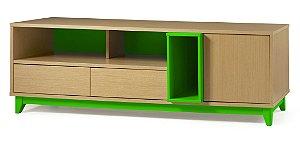 Rack Quadrato com 02 gavetas e 01 Porta e 2 Nichos na Cor Verde Limão