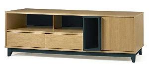 Rack Quadrato com 02 gavetas e 01 Porta e 2 Nichos na Cor Azul Marinho