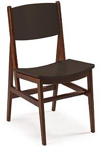 Cadeira Dumont com Acento e Encosto na Cor Marrom Chocolate
