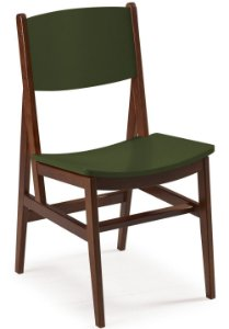 Cadeira Dumont com Acento e Encosto na Cor Verde Oliva