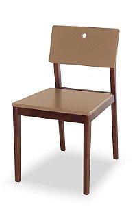 Cadeira Flip com Acento e Encosto na Cor Marrom Claro