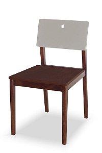Cadeira Flip com Acento Marrom e Encosto na Cor Branco
