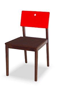 Cadeira Flip com Acento Marrom e Encosto na Cor Vermelho