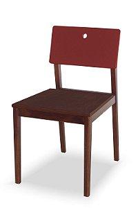 Cadeira Flip com Acento Marrom e Encosto na Cor Vinho