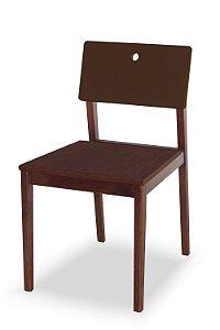 Cadeira Flip com Acento Marrom e Encosto na Cor Marrom Chocolate
