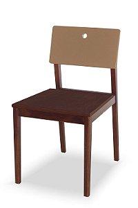 Cadeira Flip com Acento Marrom e Encosto na Cor Marrom Claro