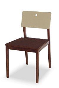 Cadeira Flip com Acento Marrom e Encosto na Cor Nude
