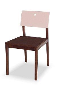 Cadeira Flip com Acento Marrom e Encosto na Cor Rosa