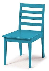 Cadeira Imperial com Encosto Ripado e Acento na Cor Azul Turqueza