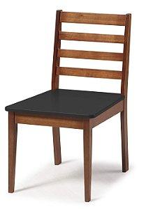 Cadeira Imperial com Encosto Ripado Marrom  e Acento na Cor Preta