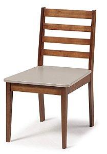 Cadeira Imperial com Encosto Ripado Marrom  e Acento na Cor Nude