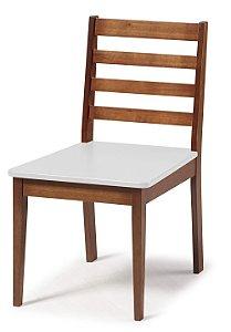 Cadeira Imperial com Encosto Ripado Marrom  e Acento na Cor Branco