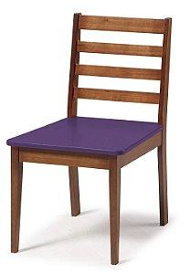 Cadeira Imperial com Encosto Ripado Marrom  e Acento na Cor Roxo