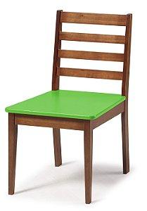 Cadeira Imperial com Encosto Ripado Marrom  e Acento na Cor Verde Limão