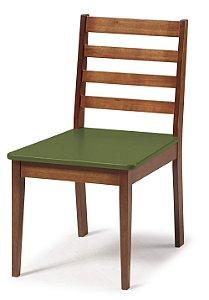 Cadeira Imperial com Encosto Ripado Marrom  e Acento na Cor Verde Oliva