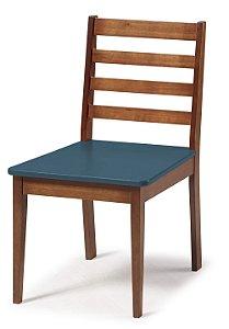 Cadeira Imperial com Encosto Ripado Marrom  e Acento na Cor Azul Marinho