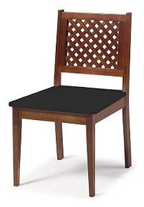 Cadeira Imperial com Encosto em Treliça e Acento na Cor Preto