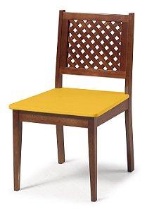 Cadeira Imperial com Encosto em Treliça e Acento na Cor Amarela
