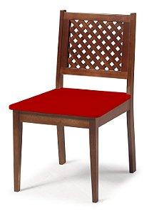 Cadeira Imperial com Encosto em Treliça e Acento na Cor Vermelha