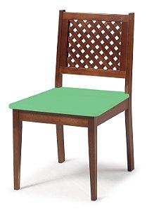 Cadeira Imperial com Encosto em Treliça e Acento na Cor Verde