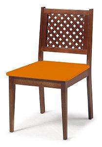 Cadeira Imperial com Encosto em Treliça e Acento na Cor Laranja